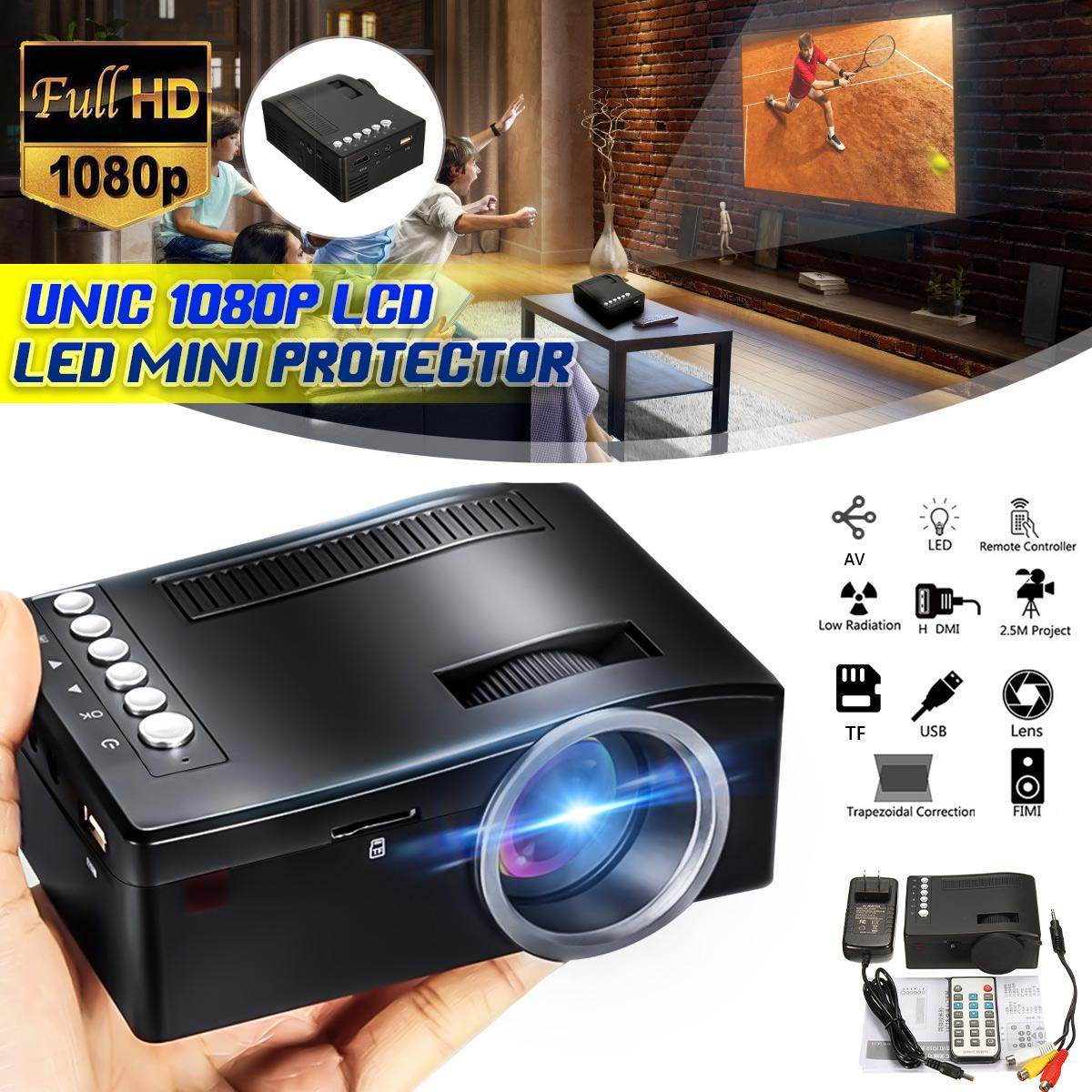 Mini LED Projector Home Cinema Theater HD Multimedia Player Support TV AV/USB/TF/MMC/HDMI FM Radio