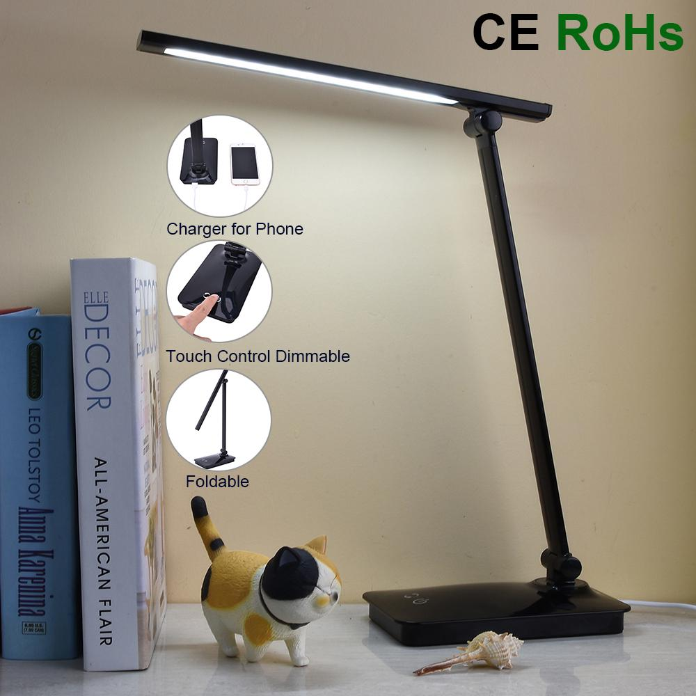 Touch Sensor Eye Protection Foldable LED Table Lamp USB Dimmable Color Changeable Reading Light