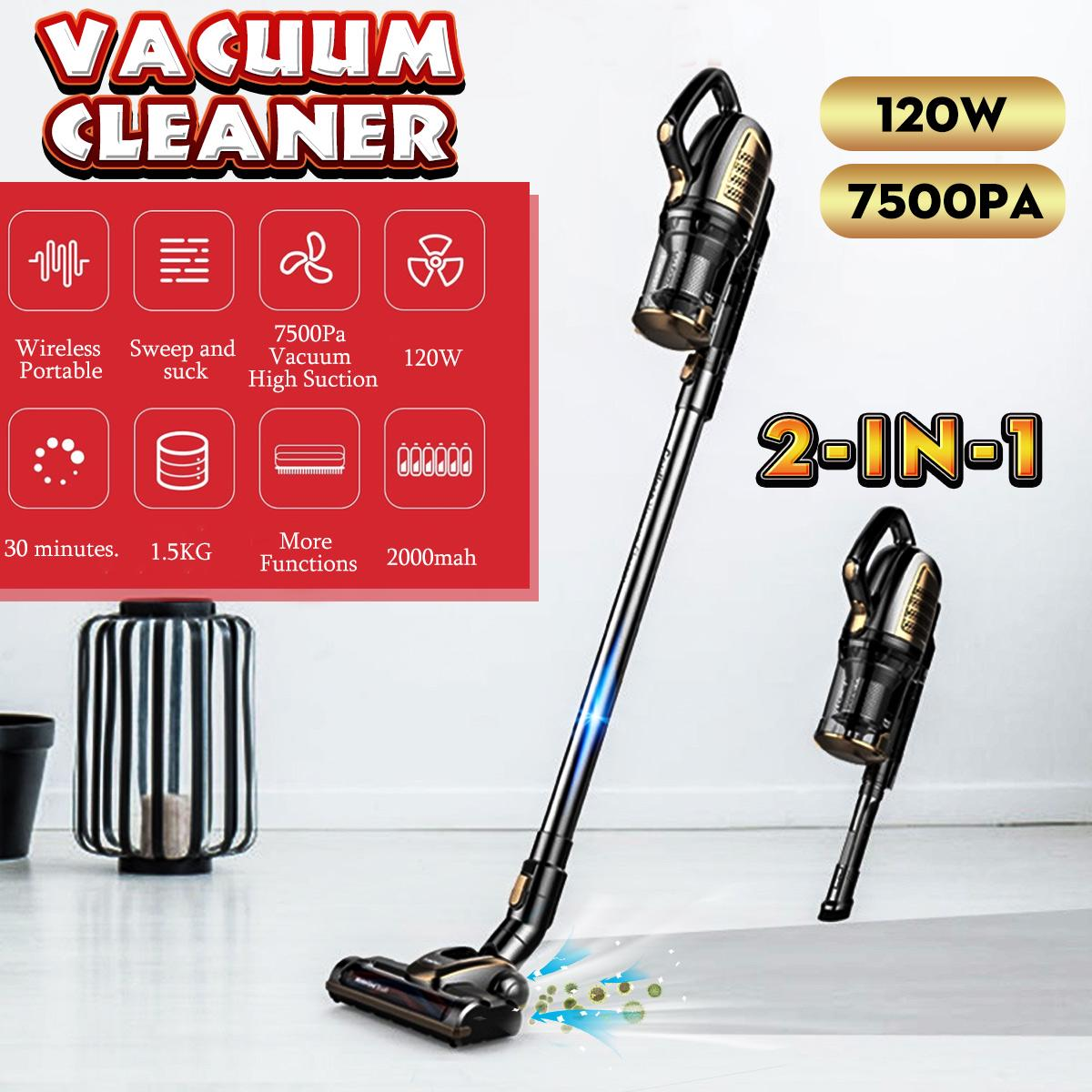 2 In1 7500PA Cordless Handheld Stick Vacuum Cleaner Floor Clean Suction Bagless