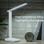 LED Desk Lamp Eye-Caring Table Light Stepless Dimmable Lamp with USB Charging Port Touch for Reading