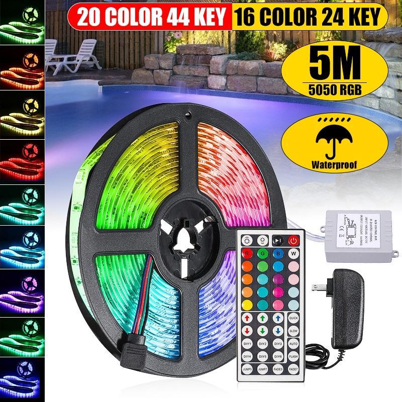 12V Power Adapter+5M 2835 SMD RGB 300 LED Strip Light String Tape + 24/44 KEY IR Remote Controller Rainbow Led Strip
