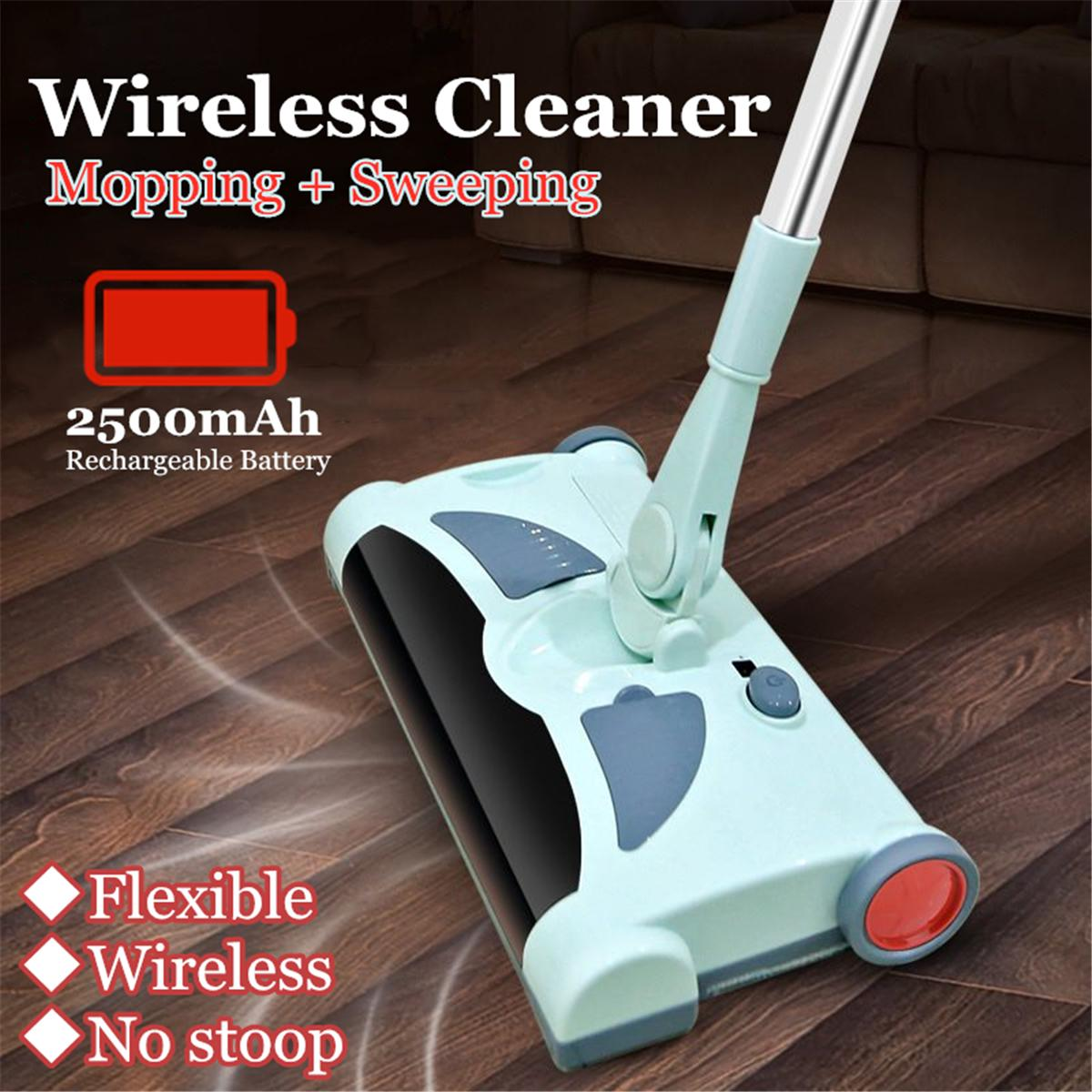 2 In 1 Electric Wireless Vacuum Spin Sweeper Broom Hard Floor Cleaning Mop
