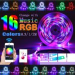 LED Strip Lights Kit, 0.5/1/2M 2835 SMD RGB Light Strip with Bluetooth App Remote