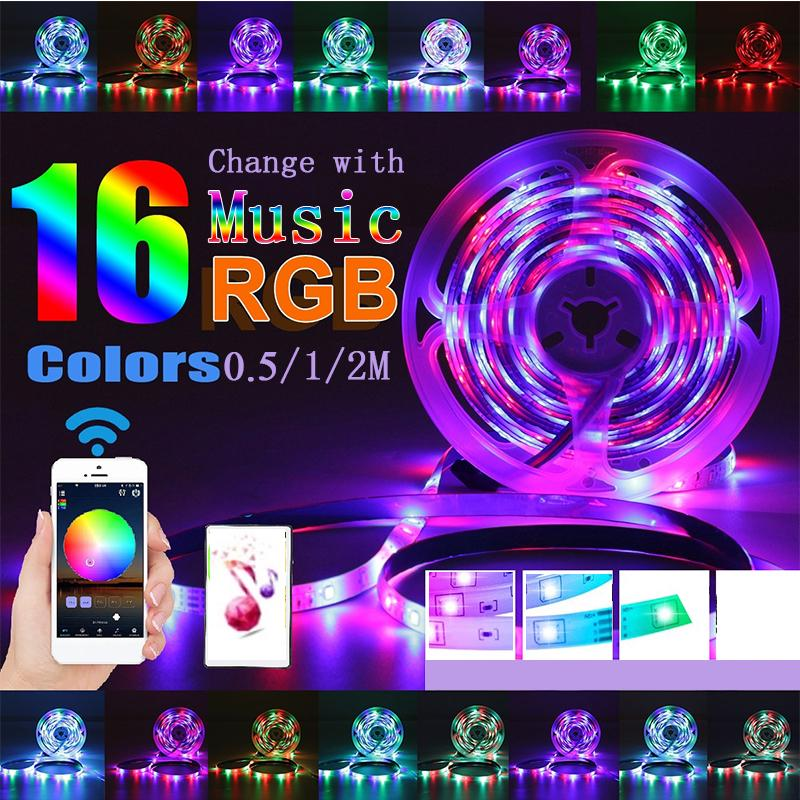 LED Strip Lights Kit, 0.5/1/2M 2835 SMD RGB Light Strip with Bluetooth App Remote