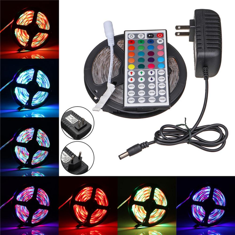 5M RGB 300 LED SMD3528 Flexible Light Strip Lamp 44 Key IR 12V 2A Power Supply US/EU Plug