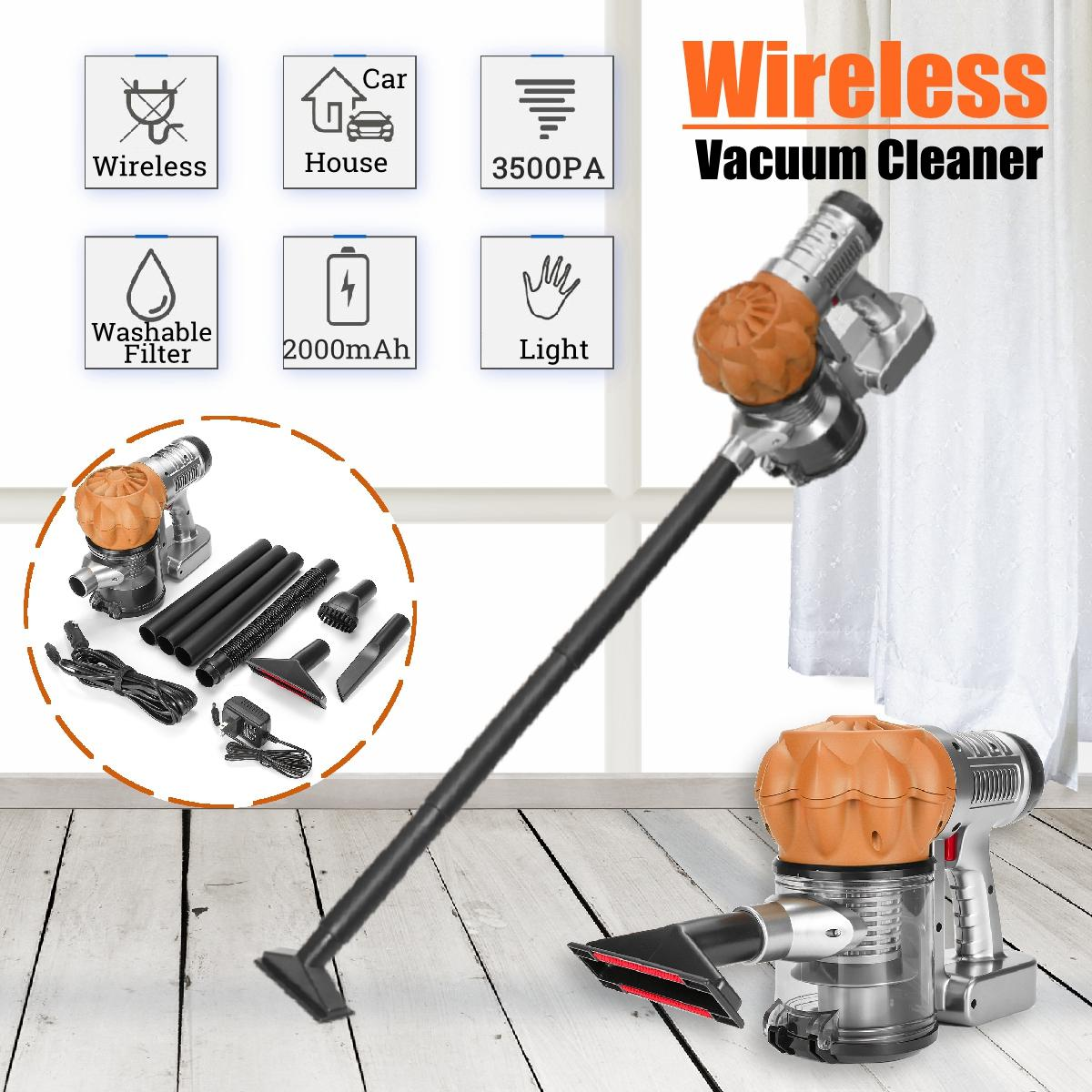 Gold Wireless Vacuum Cleaner Home Charging Handheld Upright For Car, Room, Floor Cleaning Tool 100W
