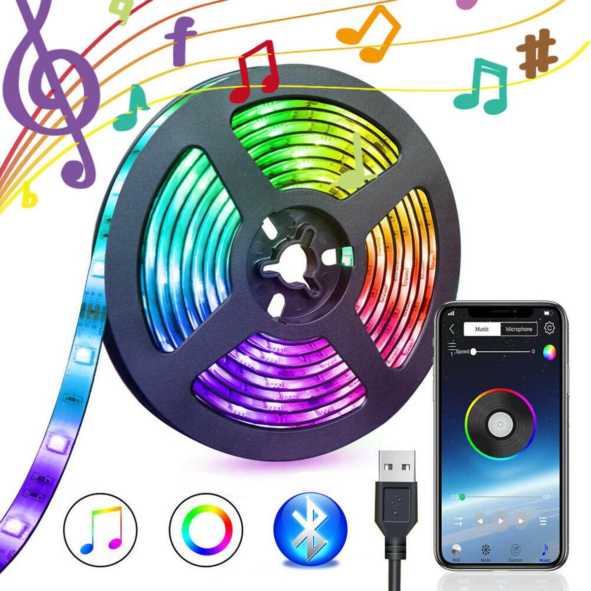 5050 RGB LED Strip Lights Control Tape Home Flexible Strip Backlight Bluetooth APP Remote Music